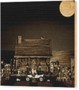 Log Cabin Scene With Outhouse And The Old Vintage Classic 1908 Model T Ford In Sepia Color Wood Print