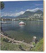 Lugano By Lago Di Lugano Wood Print