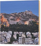 Lycabettus Hill During Dusk Time Wood Print