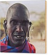 Maasai Man Portrait In Tanzania Wood Print