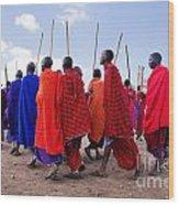 Maasai Men In Their Ritual Dance In Their Village In Tanzania Wood Print