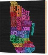 Manhattan New York Typography Text Map Wood Print