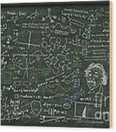 Maths Formula On Chalkboard Wood Print by Setsiri Silapasuwanchai