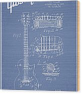 Mccarty Gibson Les Paul Guitar Patent Drawing From 1955 - Light Blue Wood Print by Aged Pixel