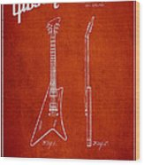 Mccarty Gibson Stringed Instrument Patent Drawing From 1958 - Red Wood Print