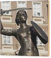 Mermaid Statue In Warsaw. Wood Print