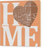 Miami Street Map Home Heart - Miami Florida Road Map In A Heart Wood Print