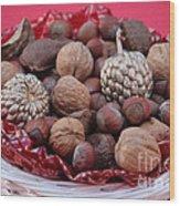 Mixed Holiday Nuts Wood Print