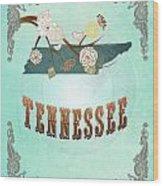 Modern Vintage Tennessee State Map  Wood Print