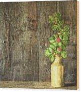 Monet Style Digital Painting Retro Style Still Life Of Dried Flowers In Vase Against Worn Woo Wood Print