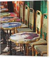 Montmartre Cafe Wood Print