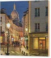 Montmartre Twilight Wood Print