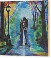 Moonlight Kiss Wood Print by Leslie Allen