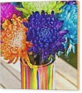 Multicolored Chrysanthemums  Wood Print