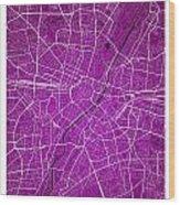 Munich Street Map - Munich Germany Road Map Art On Colored Backg Wood Print