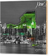 New York Map And Skyline Watercolor Wood Print