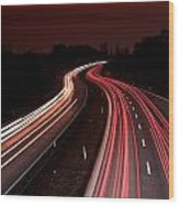 Night Traffic Wood Print
