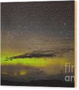 Northern Lights And Myriad Of Stars Wood Print