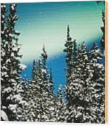 Northern Lights Aurora Borealis And Winter Forest Wood Print