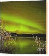 Northern Lights Mirrored On Lake Wood Print