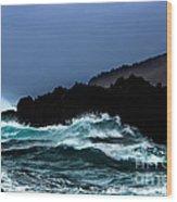 Ocean Foam In Fury Wood Print