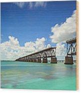 Old Bahia Honda Bridge Florida Keys Wood Print