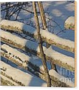 Old Swedish Wooden Fence In Winter Wood Print
