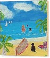 Palmy Beach Wood Print