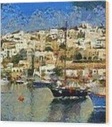 Panoramic Painting Of Mikrolimano Port Wood Print