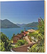 Panoramic View Over An Alpine Lake Wood Print