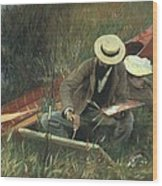 Paul Helleu Sketching With His Wife Wood Print