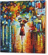 Rain Princess Wood Print by Leonid Afremov