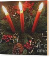 3 Red Candles Wood Print