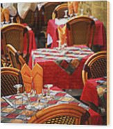 Restaurant Patio In France Wood Print by Elena Elisseeva