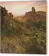 Romantic Fantasy Magical Castle Ruins Against Stunning Vibrant S Wood Print