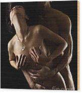 Romantic Nude Couple Making Love Wood Print
