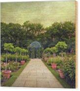 Rose Garden Gazebo Wood Print