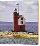 Round Island Lighthouse Straits Of Mackinac Michigan Wood Print