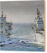 Royal Navy Aircraft Carrier Hms Ark Royal Conducts A Replenishment At Sea  Wood Print