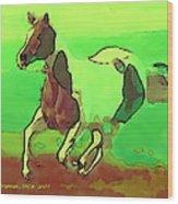 Running Horse Wood Print by David Skrypnyk