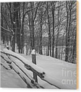 Rural Winter Scene With Fence Wood Print