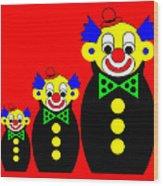 3 Russian Clown Dolls on red Wood Print