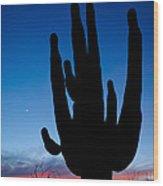 Saguaro Silhouette Wood Print