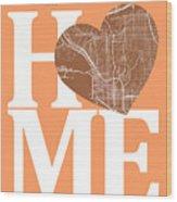 San Diego Street Map Home Heart - San Diego California Road Map  Wood Print