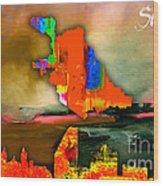 San Jose Map And Skyline Wood Print