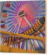 Santa Monica Pier Ferris Wheel And Roller Coaster At Dusk Wood Print