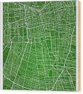 Santiago Street Map - Santiago Chile Road Map Art On Colored Bac Wood Print
