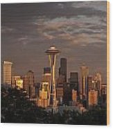 Seattle Skyline With Space Needle And Stormy Weather Wood Print
