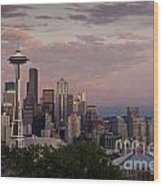 Seattle Skyline With Space Needle And Stormy Weather With Mount  Wood Print