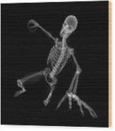 Skeleton Playing Handball Wood Print
